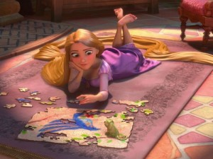 Rapunzel: bored with her routine.